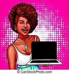 donna, arte, dimostra, laptop, illustrazione, vettore, nero, pop, modello nuovo
