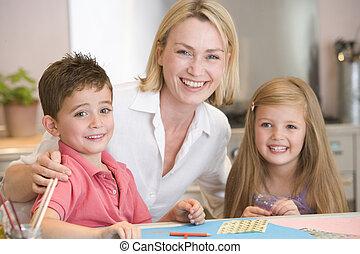 donna, arte, due, giovane, progetto, sorridente, bambini, cucina