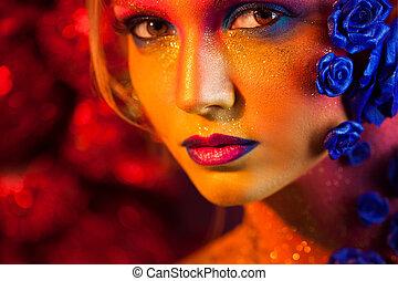 donna, arte, giovane, makeup., faccia, decorazione, ...