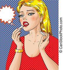 donna, arte, lei, illustrazione, labbra, vettore, pop, pittura