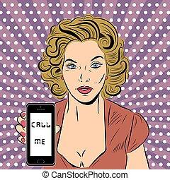 donna, arte, pop, telefono, vettore, illustrazione, sexy