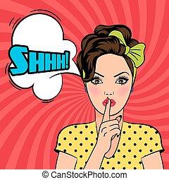 donna, arte, pop, vettore, chiedere, silenzio