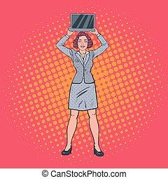 donna, arte, presa a terra, affari, laptop., pop, vettore, illustrazione, computer., felice, segretario