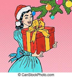donna, arte, regalo, box., giovane, pop, vettore, illustrazione, presa a terra, natale, felice