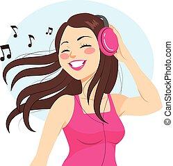 donna, ascolto, musica