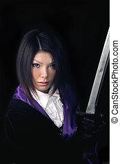 donna asiatica, con, spada