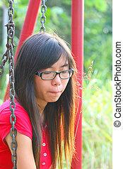 donna asiatica, in, uno, triste, umore