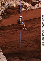 donna asiatica, rappeling