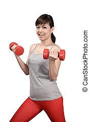 donna, asiatico, esercizio
