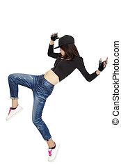 donna, asiatico, giovane, ballo