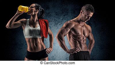 donna, atletico, secondo, esercizio idoneità, uomo