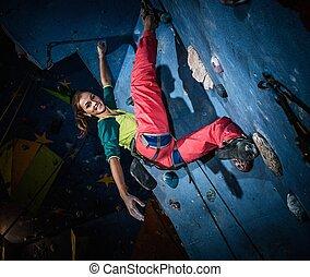 donna, attivo, roccia-ascensione, giovane, parete, dentro, roccia