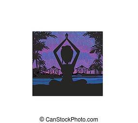donna, attivo, silhouette, yoga, spiaggia, sunset.