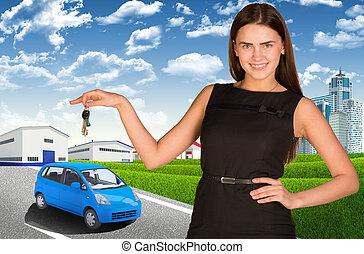 donna, automobile, mano., chiave, automobile, piccolo, strada