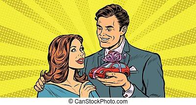 donna, automobile, regalo, uomo