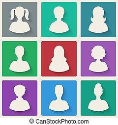 donna, avatar, icone