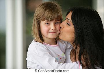donna, baciare, lei, figlia
