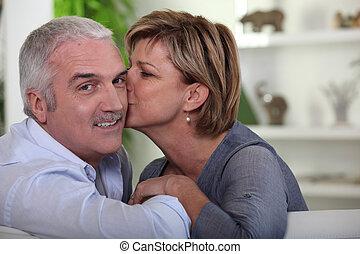 donna, baciare, lei, marito