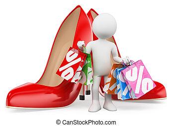 donna, bags., persone., moda, shopping, bianco, 3d