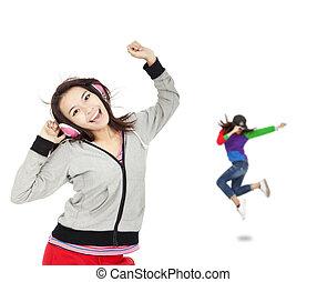 donna ballando, giovane, musica, asiatico, ascoltare, felice