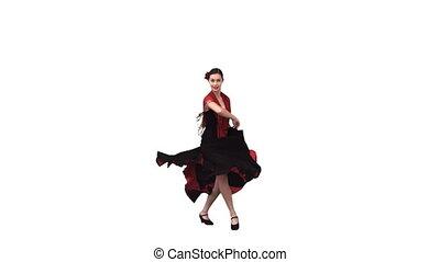 donna ballando, in, uno, vestire, in, rallentato