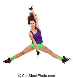 donna, ballerino, saltare, e, ballo
