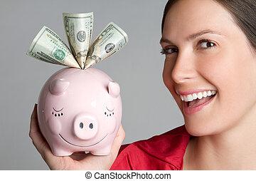 donna, banca piggy
