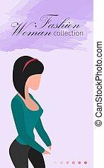 donna, banner., vendite, collezione, strategia, moda