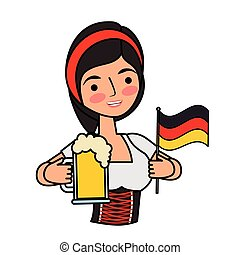 donna, bavarese, bandiera, birra, germania, presa a terra