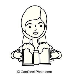 donna, bavarese, due, birra, tenere vetri