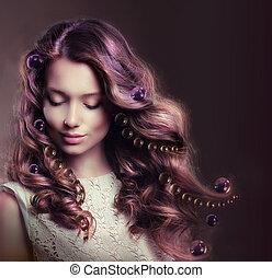 donna, bellezza, capelli, giovane, fluente, ritratto