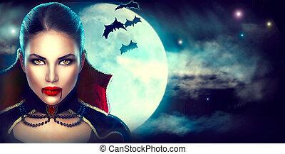 donna, bellezza, halloween, vampiro, fantasia, portrait., sexy