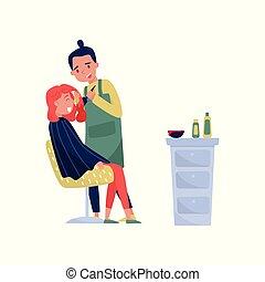 donna, bellezza, moribondo, parrucchiere, illustrazione, capelli, vettore, fondo, bar, maschio, bianco