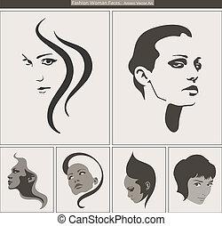 donna, bellezza, portrait., faccia, vettore, profili, silhouette