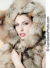 donna, bello, pelliccia