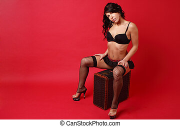donna, biancheria intima, il portare, sexy, giovane