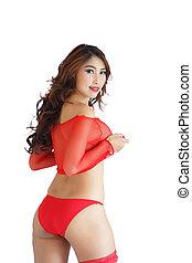 donna, biancheria intima, il portare, sexy, rosso