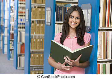 donna, biblioteca, field), presa a terra, (depth, libro