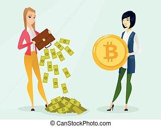 donna, bitcoins, payment., fare, giovane, bisogno