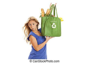 donna, borsa, giovane, riutilizzabile