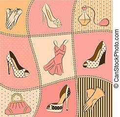 donna, borsa, profumo, e, scarpe
