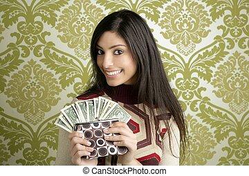 donna, borsellino, carta da parati, dollaro, retro, vendemmia