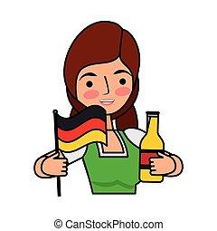 donna, bottiglia, bavarese, bandiera, birra, presa a terra