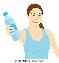 donna, bottiglia, dare, immagine, giovane, acqua, vettore, puro