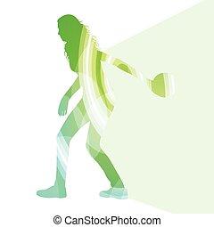 donna, bowler, silhouette, colorito, illustrazione, concetto, fondo, bowling