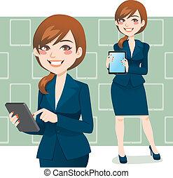 donna, brunetta, affari
