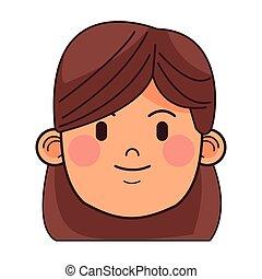 donna, brunetta, avatar