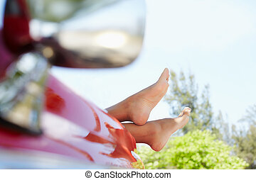 donna, cabriolet, automobile, piedi, finestra, dire bugie,...