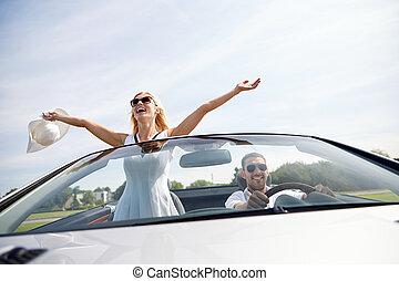 donna, cabriolet, guida, automobile, felice, uomo