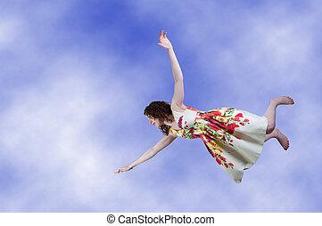 donna, cadere, attraverso, il, cielo